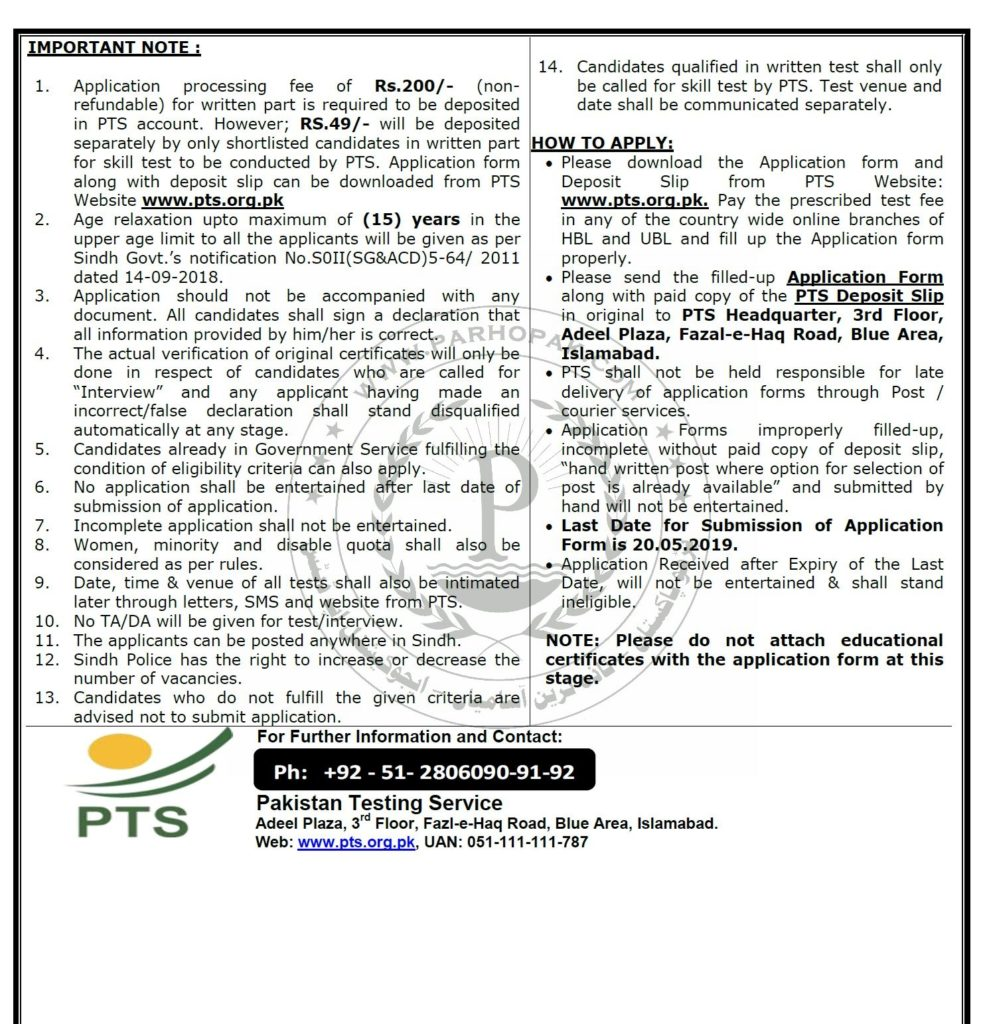Sindh Police Jobs 2019