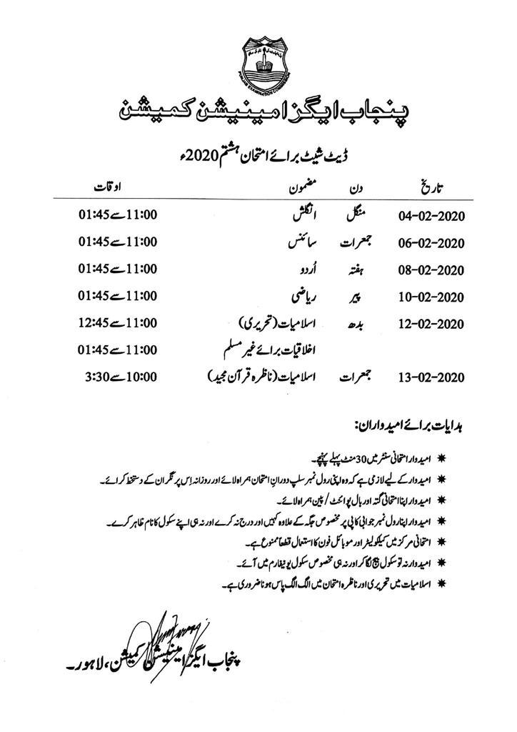 PEC 8th Class date sheet 2020 All Punjab Boards download