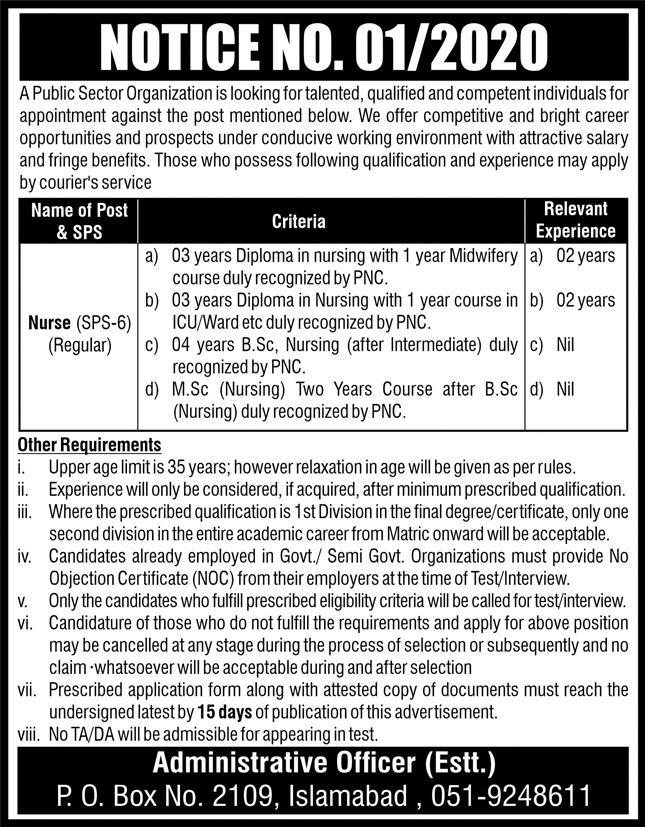 Atomic Energy PO BOX 2109 Islamabad Jobs 2020