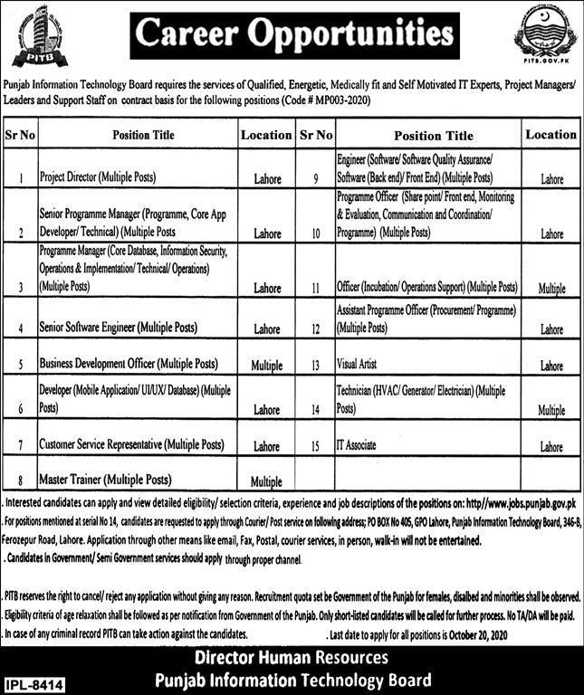 Punjab Information Technology Board PITB Jobs 2020