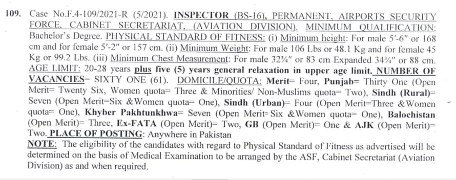 ASF Inspector Jobs 2021
