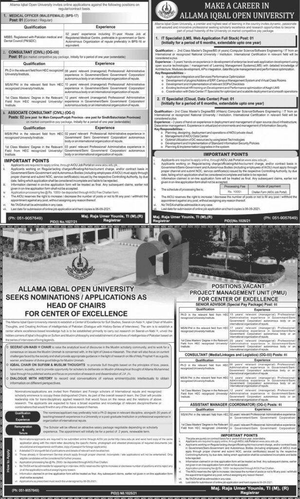 AIOU Jobs August 2021