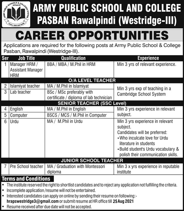 APS Rawalpindi Teaching Jobs 2021 2