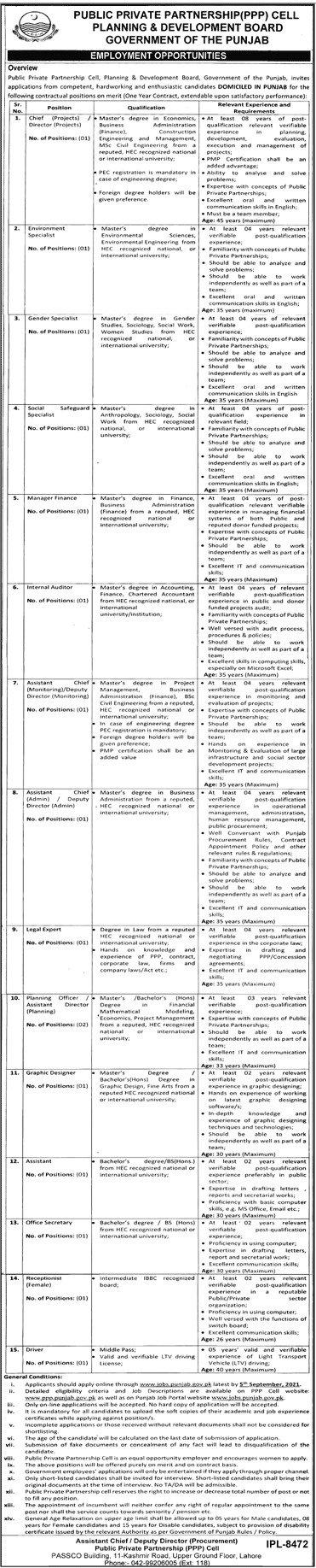 Jobs in Punjab Govt 2021 P&D Department 2