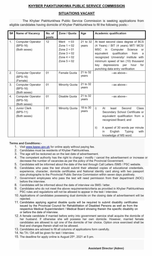 KPK Jobs 2021 for Computer Operators
