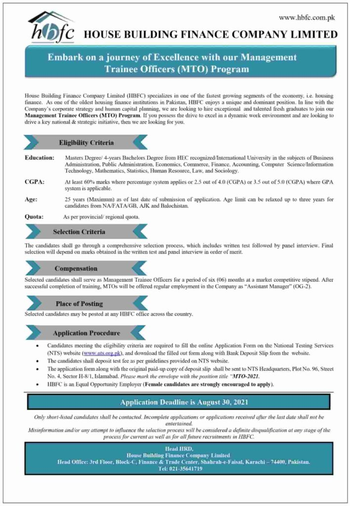 Management Trainee Officers Program 2021 by HBFC 2