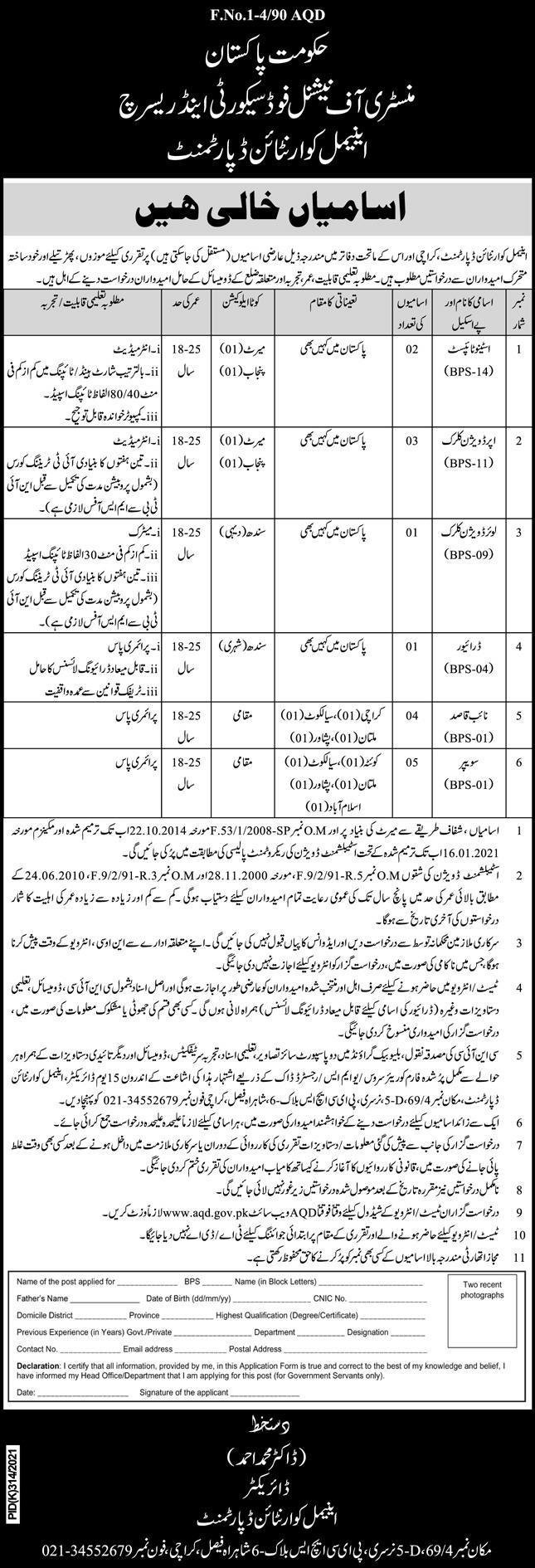 Ministry of National Food Security and Research Jobs August 2021