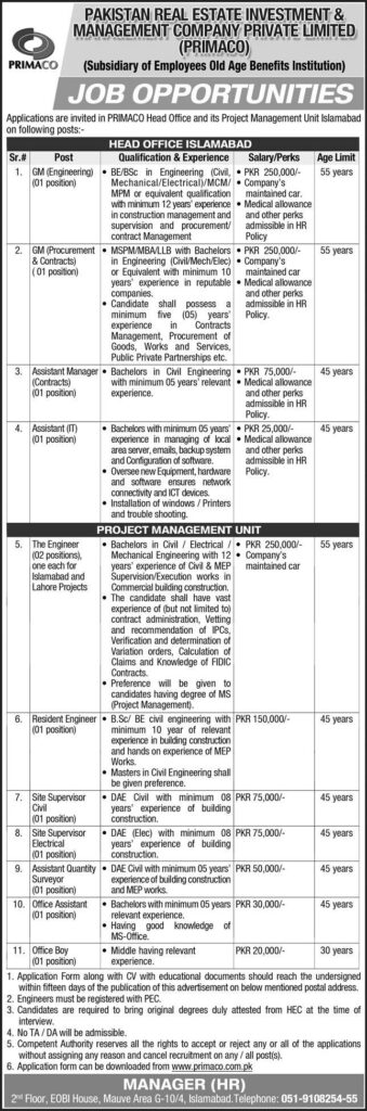 PRIMACO Jobs August 2021 - Pakistan Real Estate Investment & Management Company