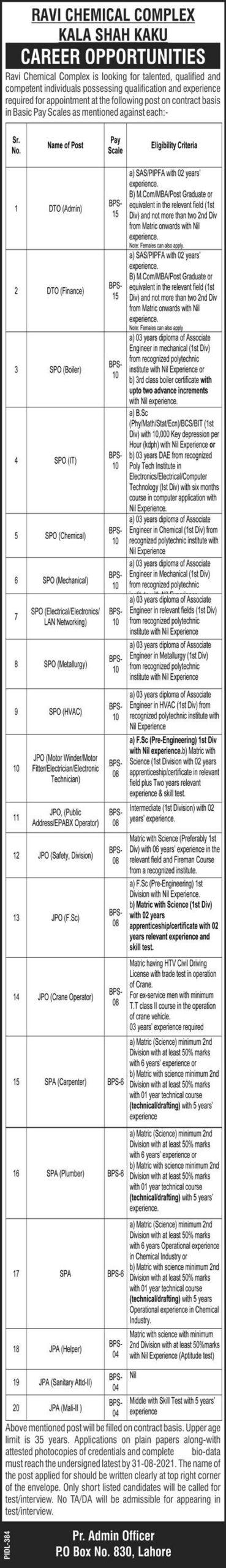 Ravi Chemical Complex Kala Shah Kaku Jobs August 2021