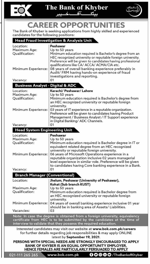 Bank of Khyber BOK Jobs September 2021