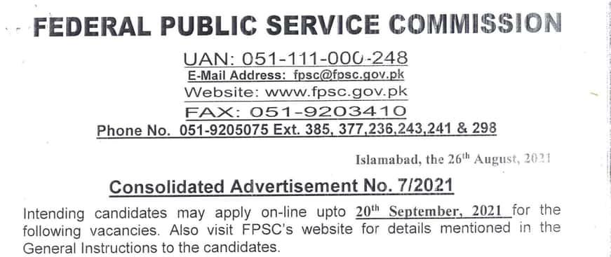 FPSC Jobs September 2021