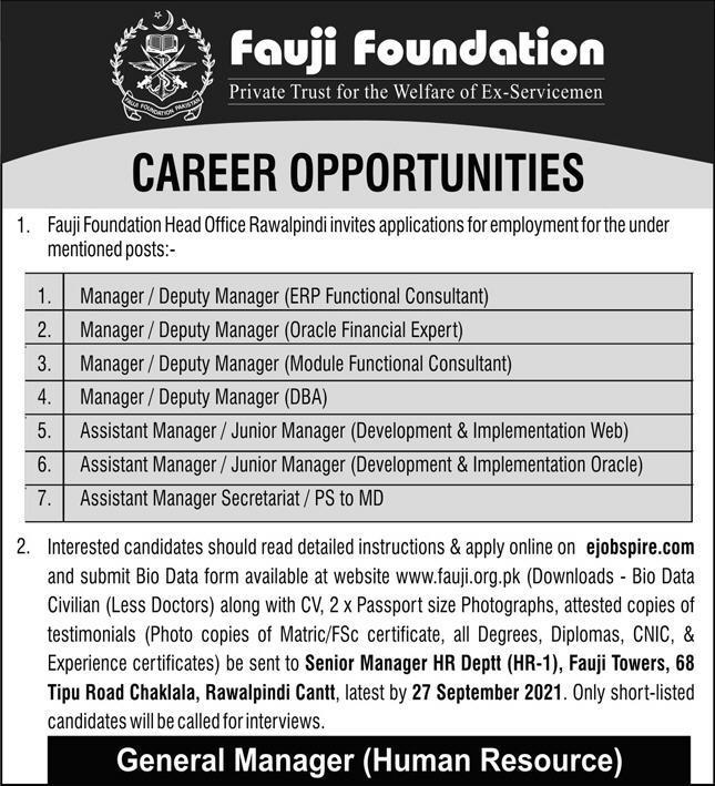 Fauji Foundation Jobs Opportunities September 2021
