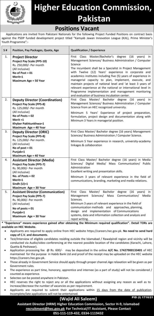 Higher Education Commission HEC Latest Jobs 2021