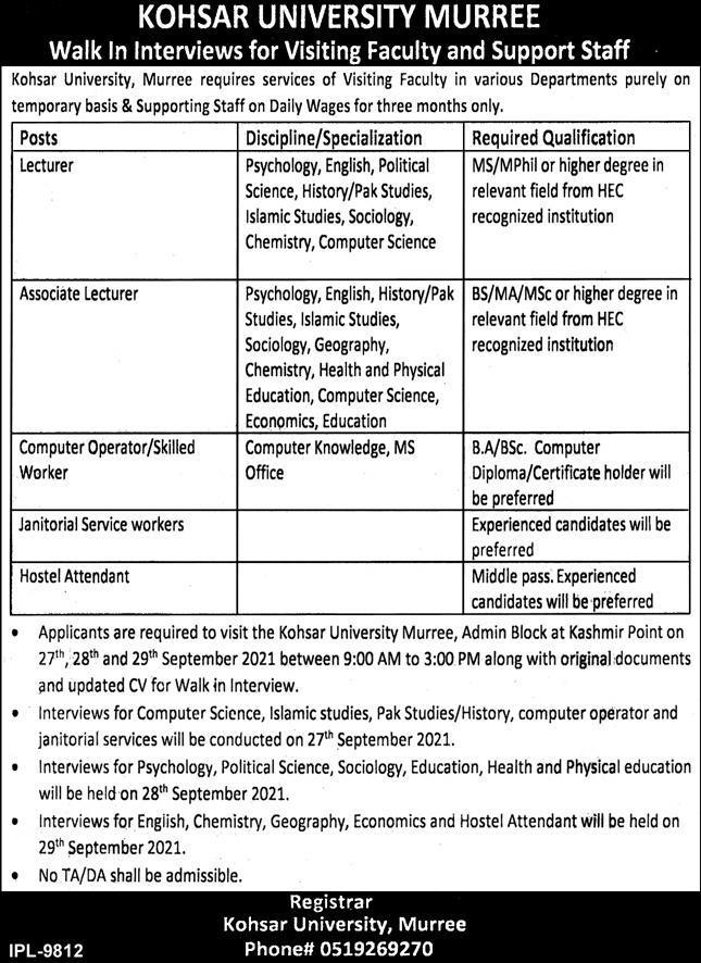 Kohsar University Murree Latest Jobs 2021 - Walk in Interview