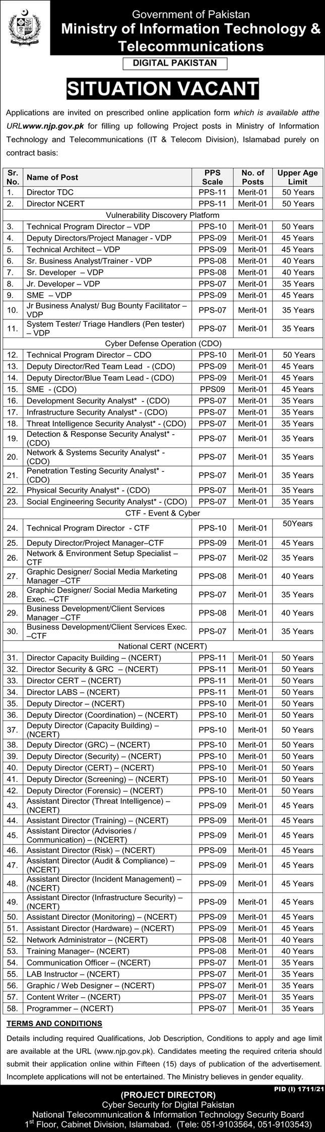 Ministry of Information Technology & Telecommunications Jobs 2021
