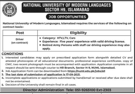 National University of Modern Languages NUML Jobs September 2021