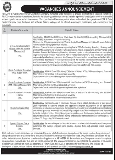 Peshawar Electric Supply Company PESCO Latest Jobs 2021