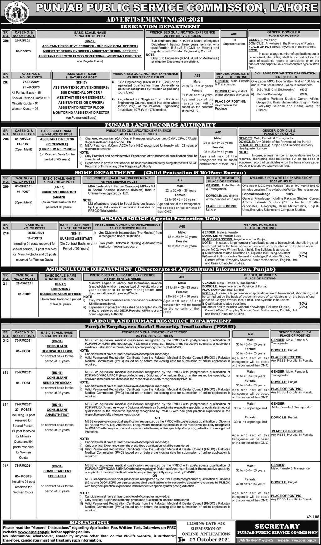 PPSC Jobs 2021 Advertisement 26/2021