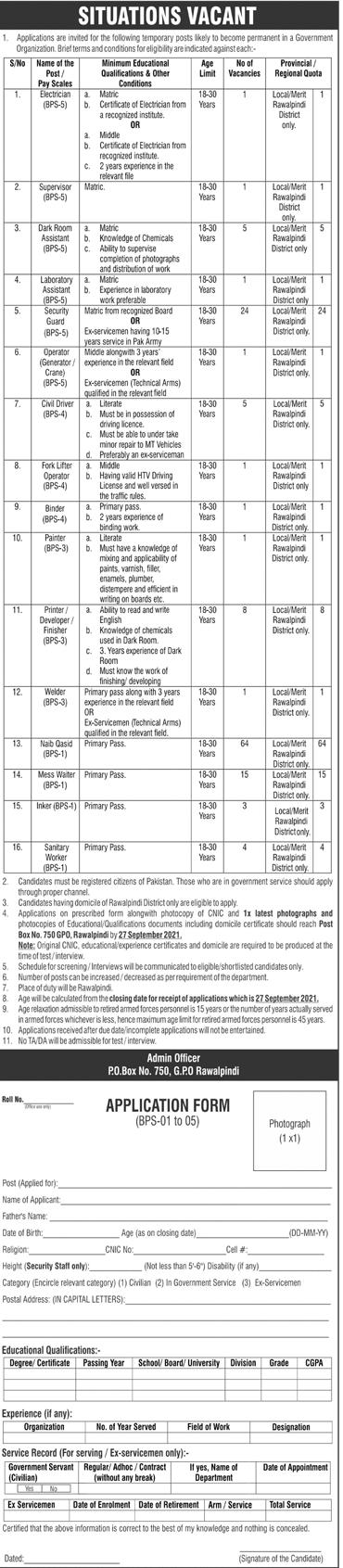 Pakistan Army GHQ Latest Jobs 2021 - Po BOX 750