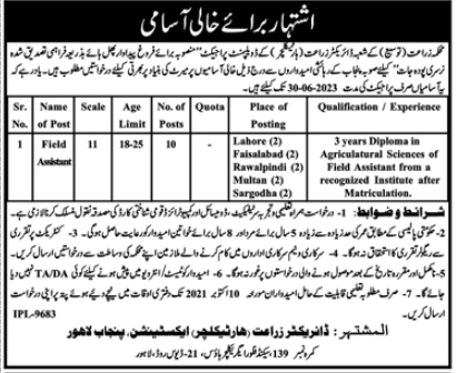 Punjab Agriculture Department Field Assistant Jobs 2021