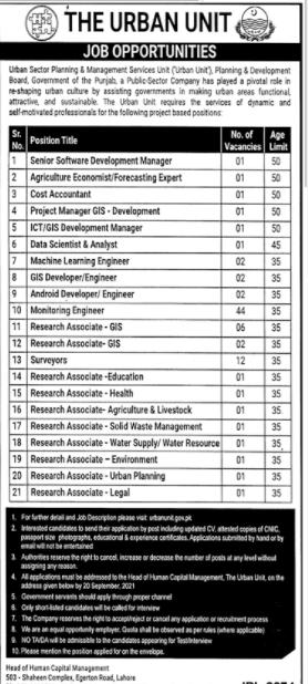 The Urban Unit Government of Punjab Jobs September 2021