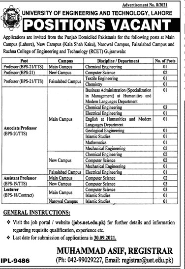 University of Engineering & Technology UET Lahore Jobs September 2021
