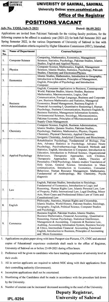 University of Sahiwal Visiting Faculty Jobs September 2021