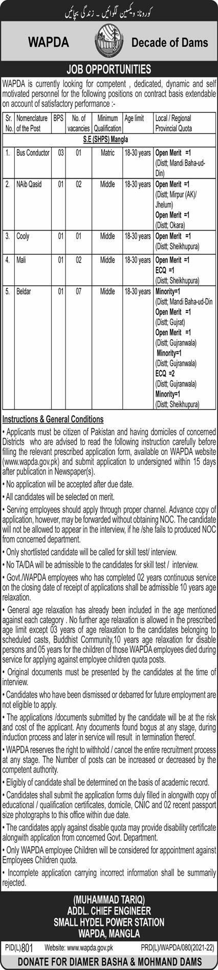 Wapda latest Jobs 2021 for Mangla Power Station